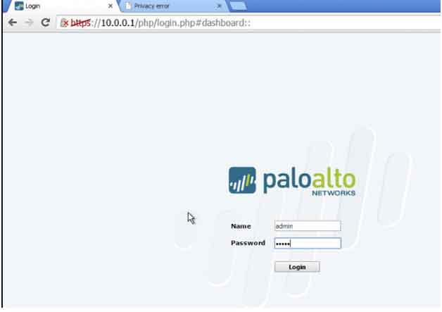 GUI of firewall Palo Alto 3