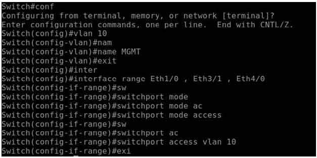 configuration on switch