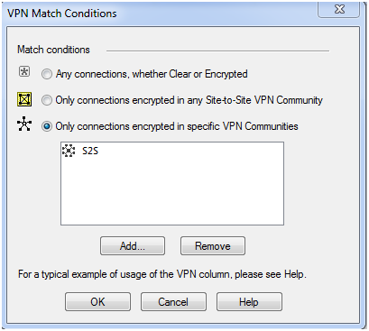 VPN match conditions