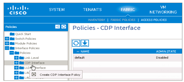 CDP interface policies
