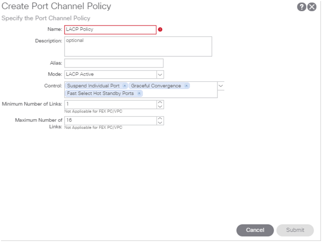 Create port channel policy